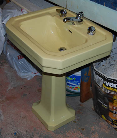 vintage yellow pedestal sink