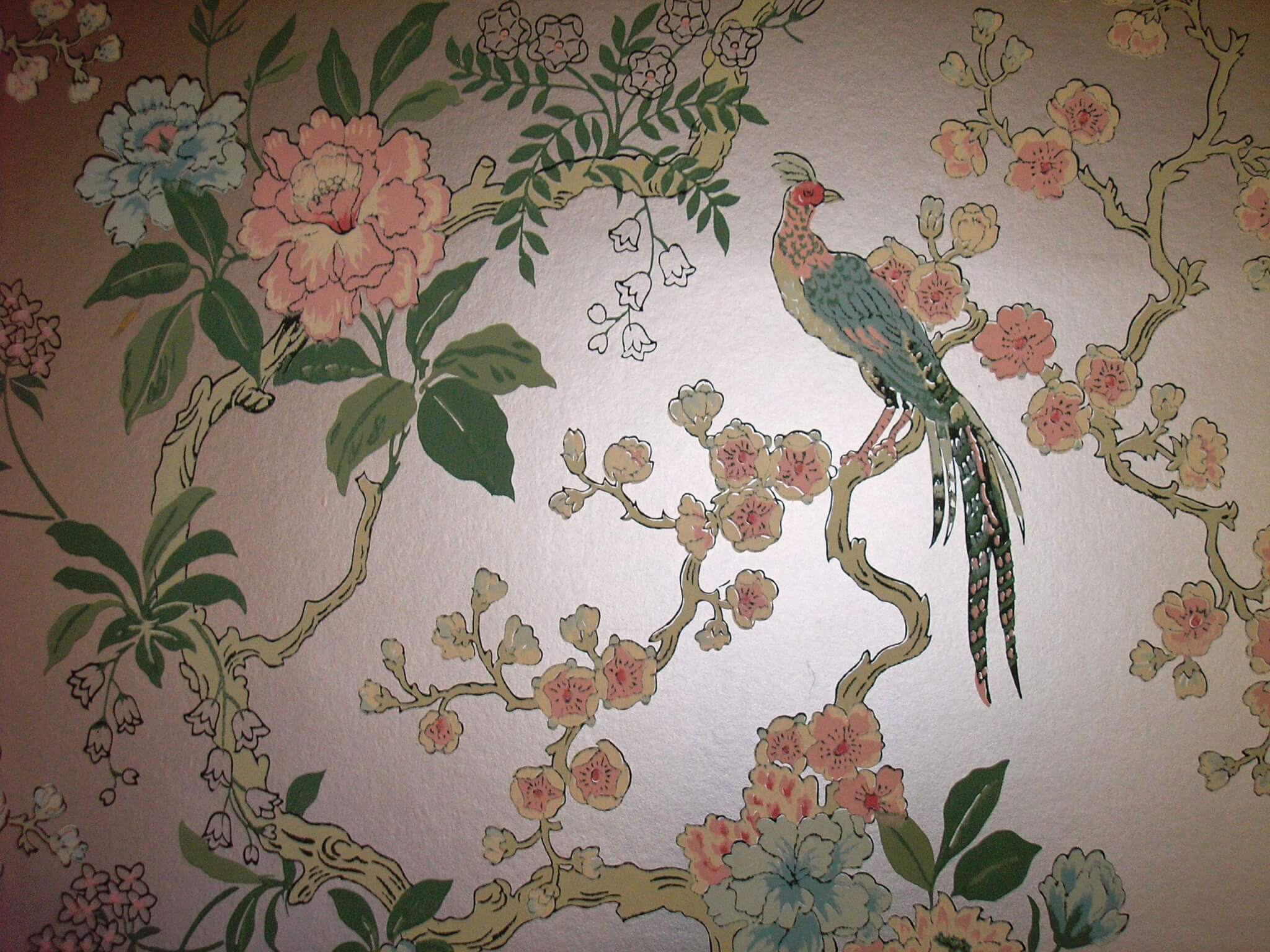 Dining room pheasant vintage wallpaper retro renovation for Antique mural wallpaper