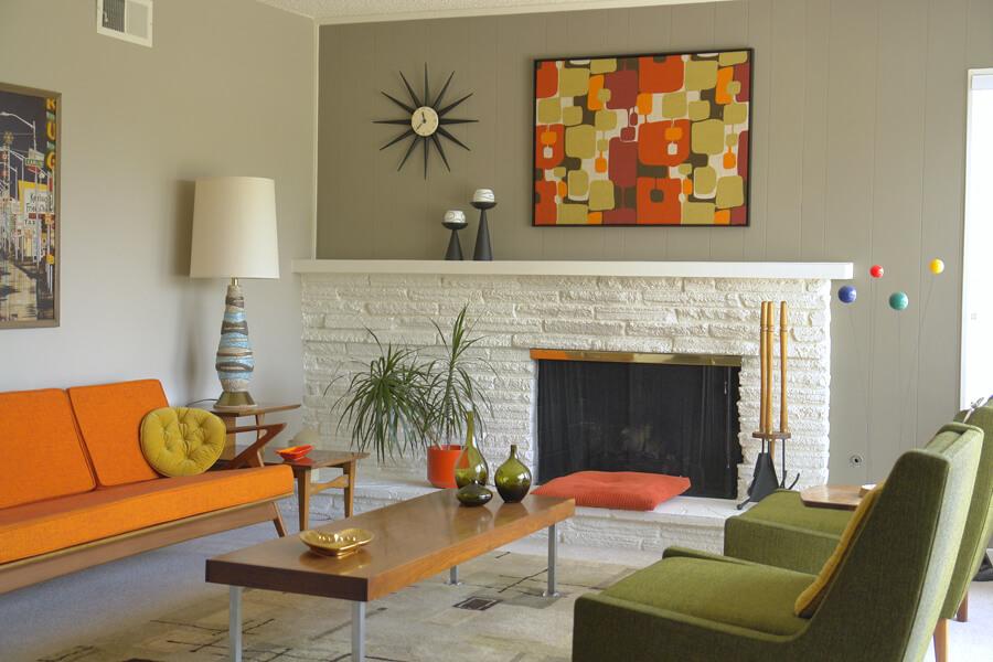 1962 living room in orange and avocado palette