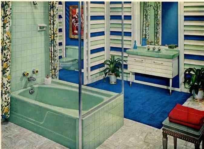 Retro Bathroom 1959 Green And Blue Bathroom From American