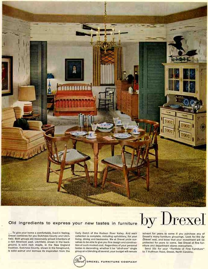 1959 vintage drexel colonial lives even heading into the American home decor catalog