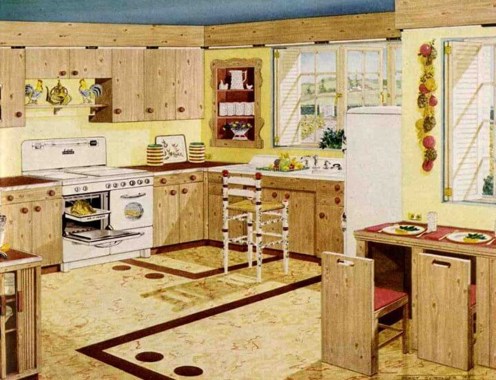 Attirant Vintage Knotty Pine Kitchen