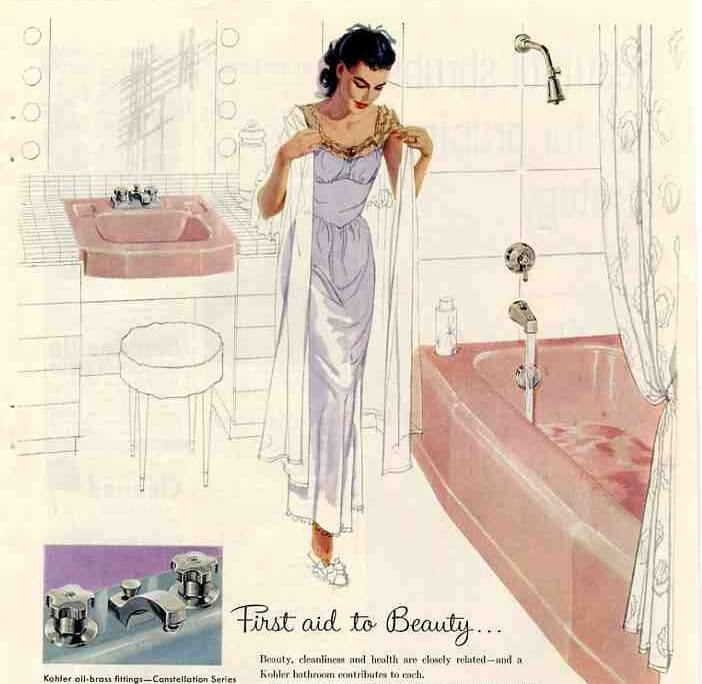 kohler pink bathroom tub and sink ad from 1959