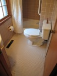 beige tile bathroom with penny round floor tile
