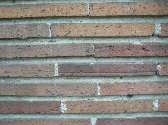 Unpainted bricks on the outside
