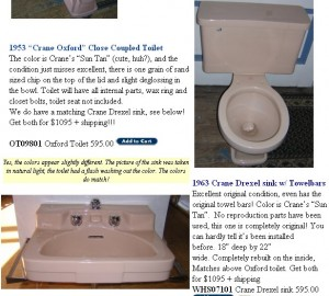 "Some pristine ""Sun Tan"" Crane fixtures currently at deabath.com - they have a new pink toilet, too!"
