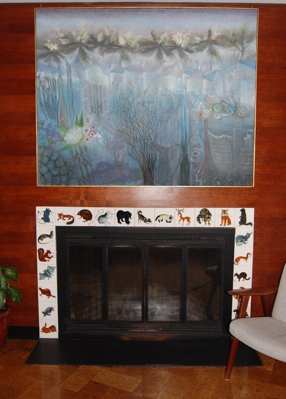 carol janeway tiles used on a fireplace surround commissioned for Lawrence and Eleanor Bloedel
