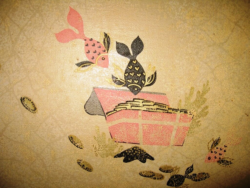 fish and treasure chest vintage wallpaper