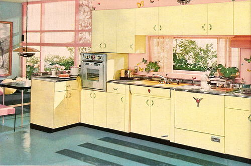 yellow youngstown steel kitchen cabinets