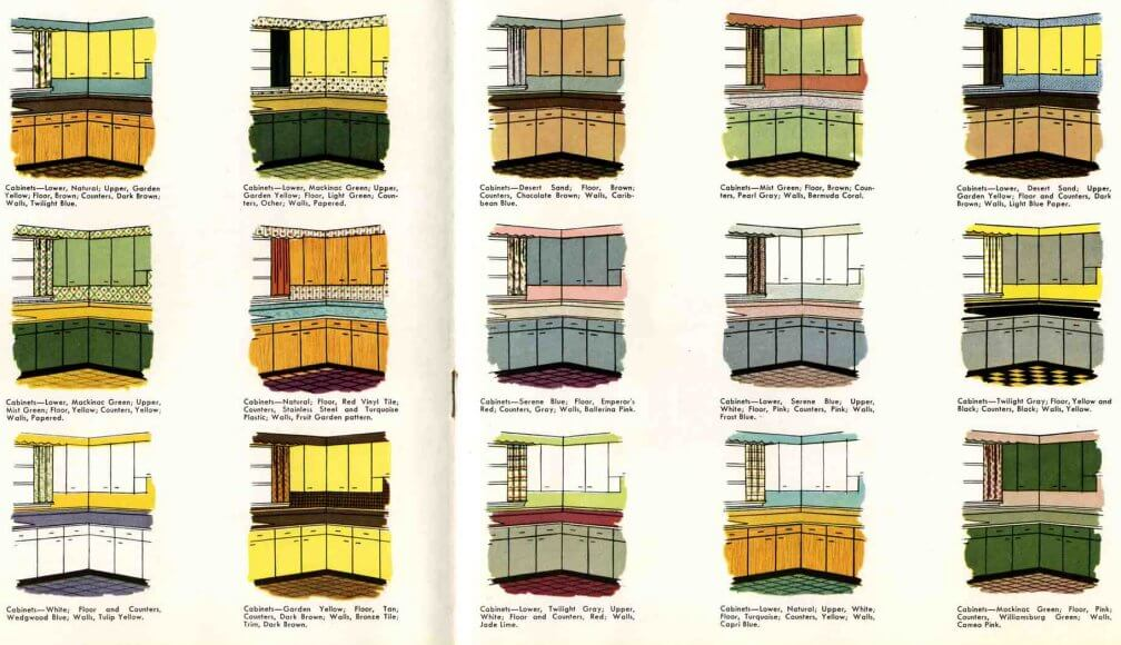 Retro Kitchen Paint Color Schemes From 1953