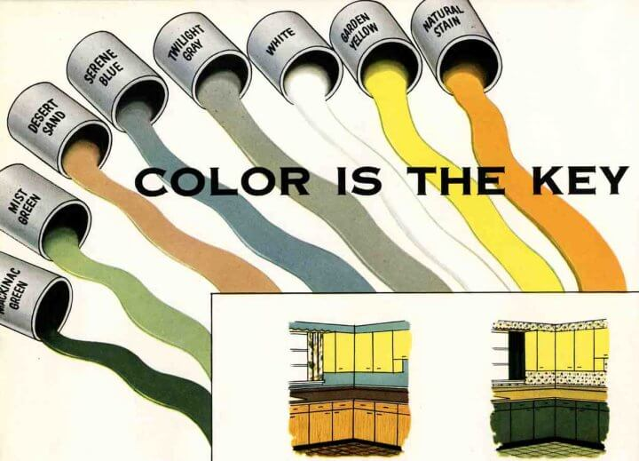 Kitchen… here are kitchen cabinet paint colors straight out of 1953.