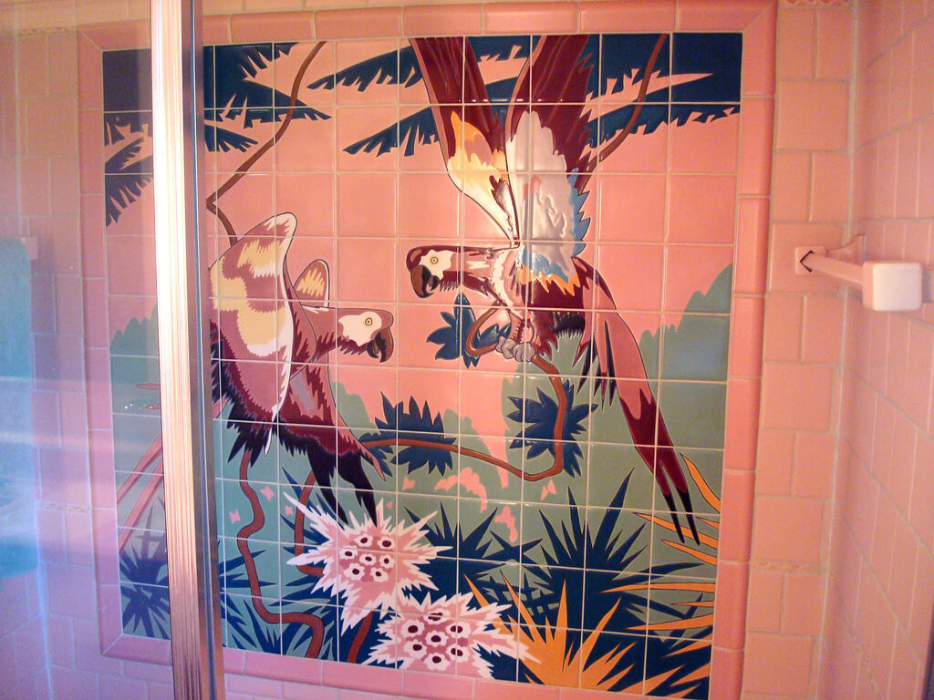 Vintage pink bathroom tile mural