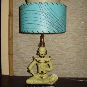 vintage oriental light with fiberglass shade