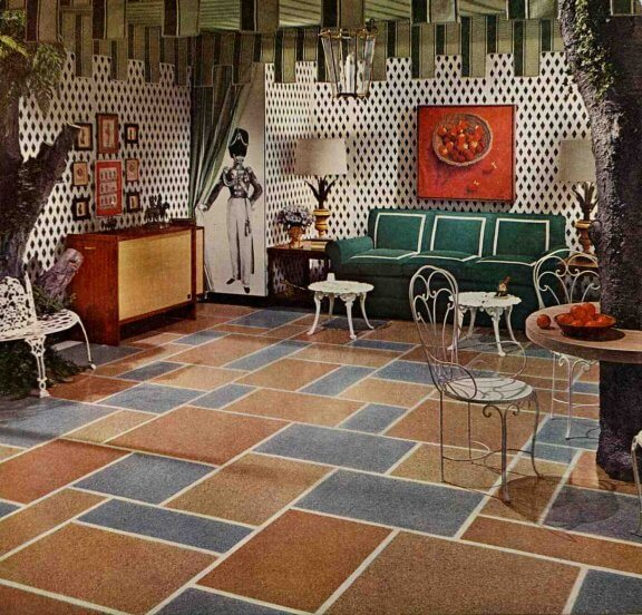 Six great 1961 interiors floors furniture art for 1960s floor tiles