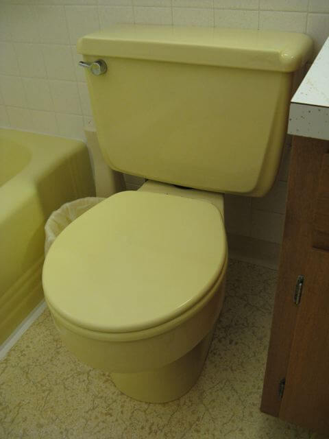 Mid Century Yellow Toilet Retro Renovation