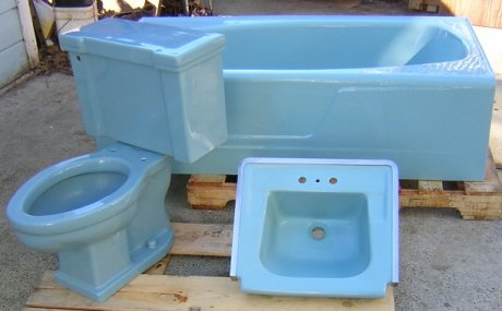 Mid century blue bathroom sink toilet and tub real for Porcelain bathtubs for sale