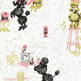 vintage pink poodle wallpaper