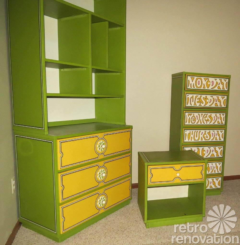 Vintage Flower Power Drexel Bedroom Set
