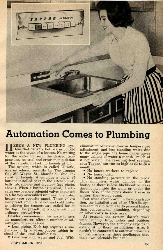 Tappan Push-button Plumbing - 1963