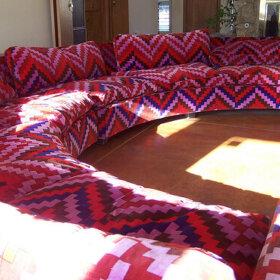 large round thayer coggin sofa