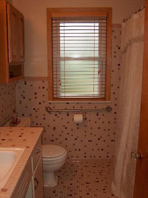 Gina 39 s 1960s mosaic splatter tile bathroom retro renovation for Old tile bathroom renovation
