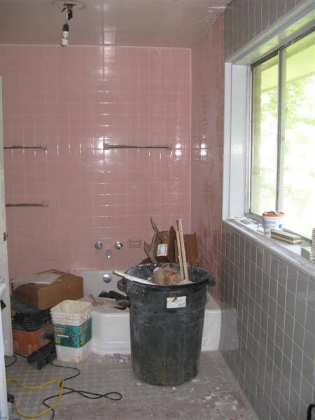 Pink And Gray Bathroom With Cinderella Tub1