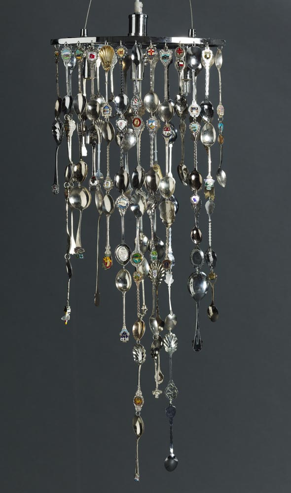 chandelier made from teaspoons