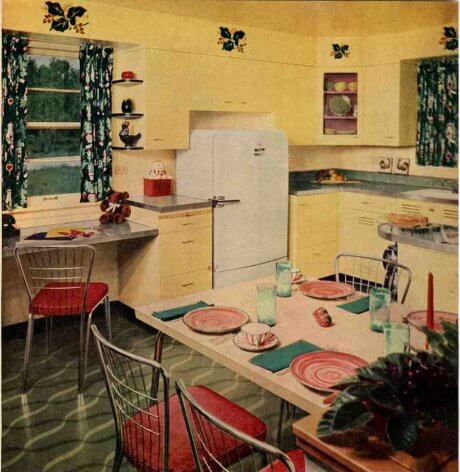 soffits in a mid century kitchen