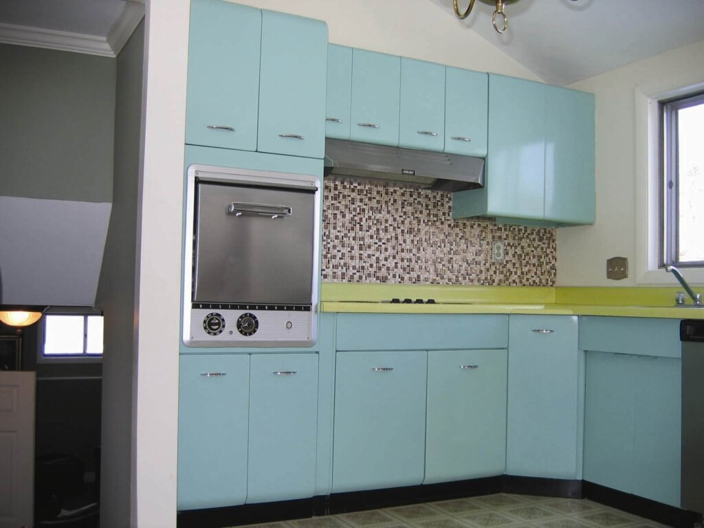 a view of the koravos family kitchen courtesy of historic new england used on - Retro Metal Kitchen Cabinets