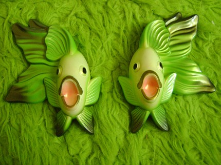 green etxy chalkware fishes
