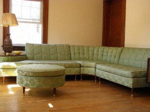 vintage sofa sectional with built in table