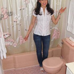 famous poodle pink bathroom