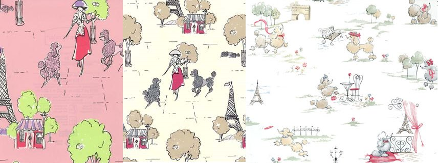 paris poodle wallpaper collage