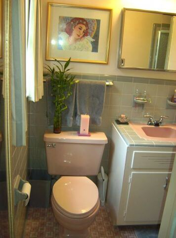 gray and pink tile bathroom