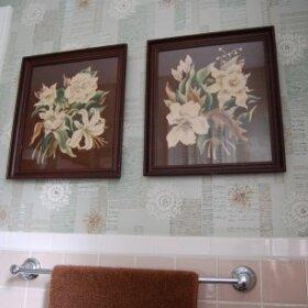 beige and aqua bathroom