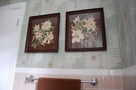 My bathroom. Design elements: Color, pattern, size, scale, texture. Patterns, for example: square (tile), atomic (wallpaper), floral (prints). Colors: rose beige, aqua, turquoise, brown, white.