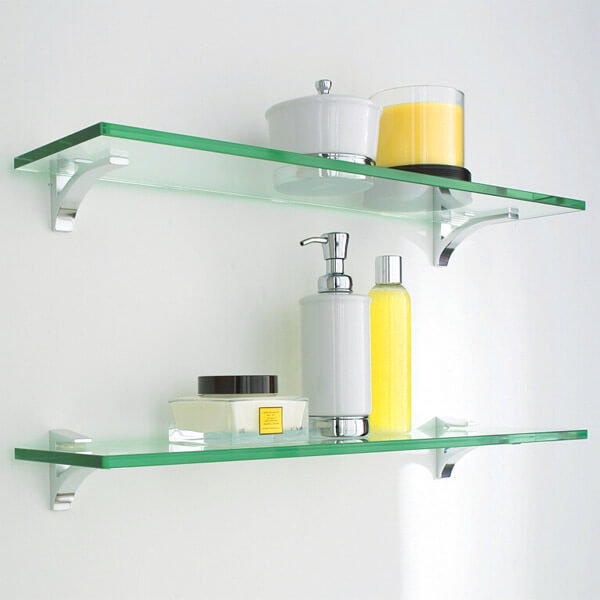 glass bathroom wall shelves from container store