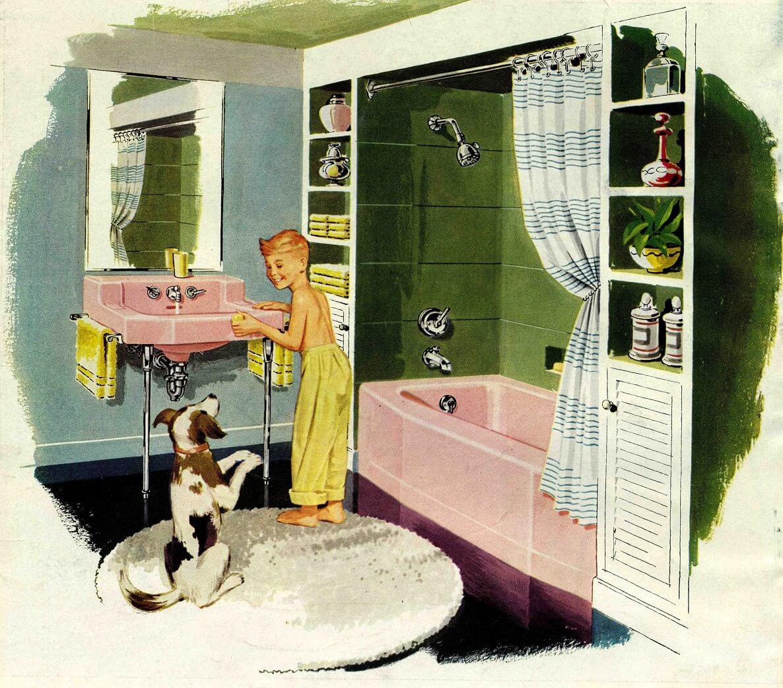 1954 kohler pink bathroom sink and bath tub