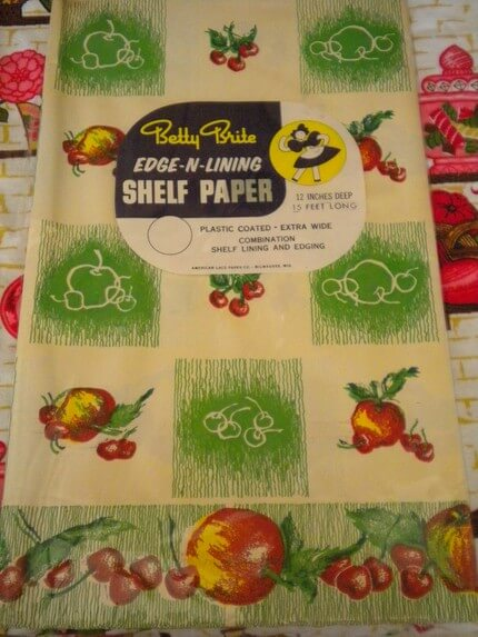 "Betty Brite ""Edge 'n Lining"" shelf paper from RetroRubbish. 12"" deep, 15' wide, $10. Click on the image to go to the listing."
