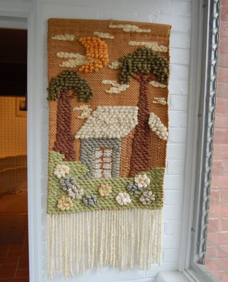 1970s wall hanging made from yarn