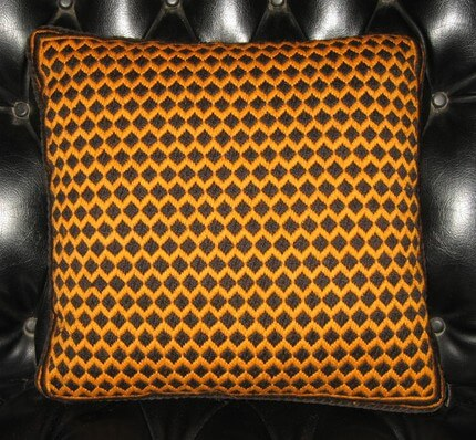 60s bargello needlepoint pillow