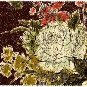vintage waverly barkcloth spring frolic pattern