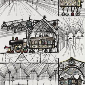 saul steinberg trains wallpaper