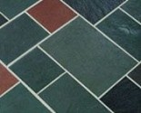 Random multi-color slate flooring — an authentic mid-century choice