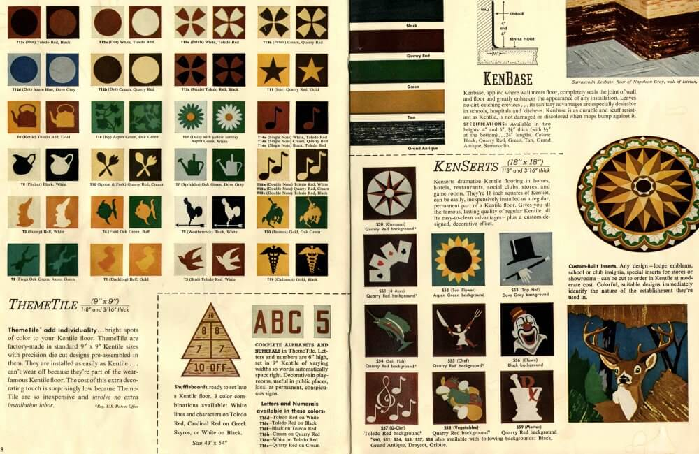 30 Patterns For Vinyl Floor Tiles From The 1950s Retro