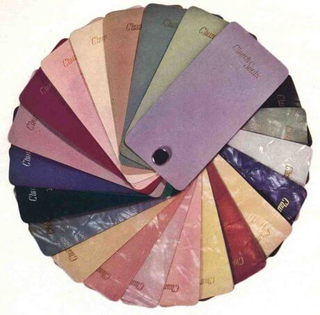 sunny 1940s colors shown in samples for church toilet seats