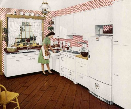 sanitary 1940s kitchen design in a st. charles steel kitchen