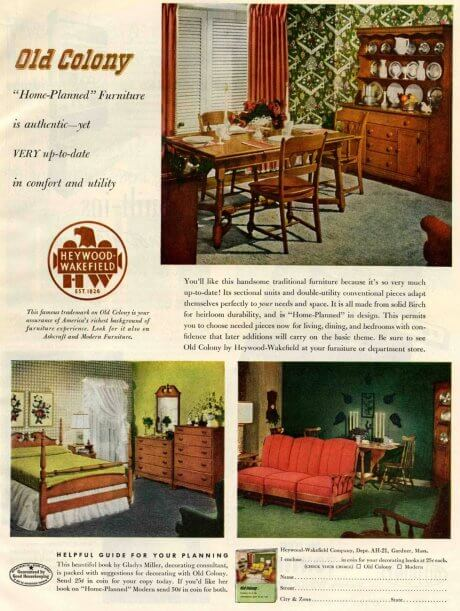 traditional colonial revival 1940s heywood wakefield furniture designs