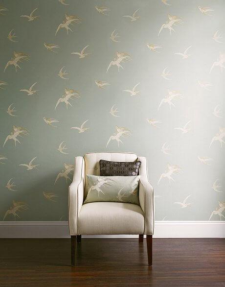 sanderson swallows vintage reproduction wallpaper