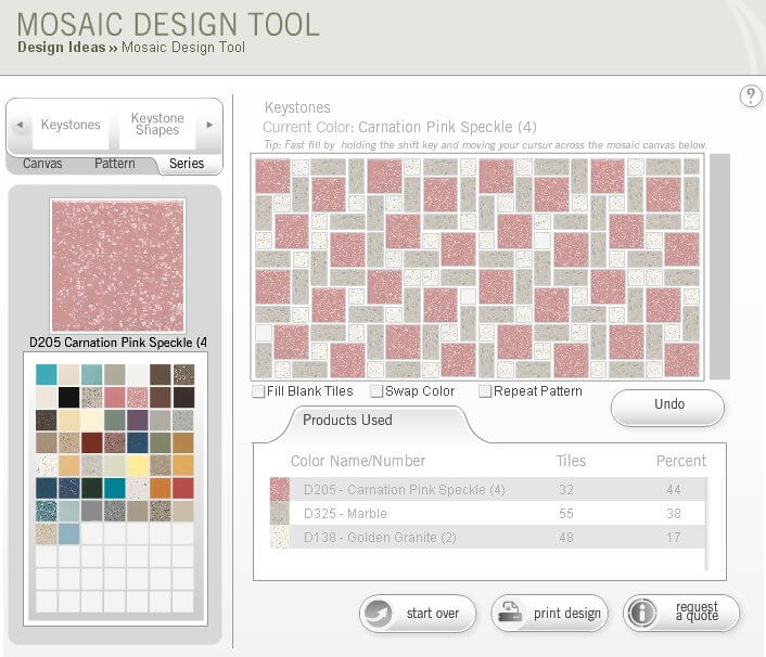 Design a retro bathroom floor tile with dal tile 39 s mosaic for Bathroom design planning tool